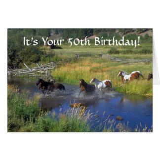 Cartão Aniversário dos cavalos Running 50th