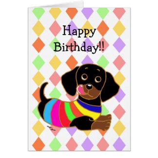 Cartão Aniversário dos desenhos animados 2 do Dachshund