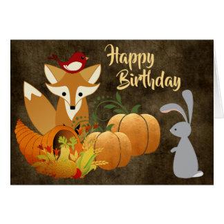 Cartão Aniversário dourado do outono dos animais bonitos