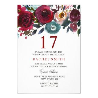 Cartão Aniversário elegante floral vermelho de Borgonha o