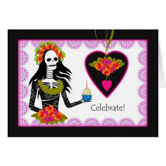 Cartão Aniversário em Diâmetro de los Muertos, esqueleto,