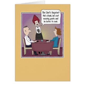 Cartão Aniversário engraçado: A surpresa do cozinheiro