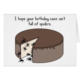 Cartão Aniversário engraçado: Cheio do bolo das aranhas
