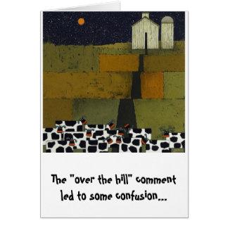 Cartão aniversário engraçado da vaca cómico