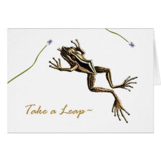 Cartão Aniversário engraçado do ano de pulo, sapo do