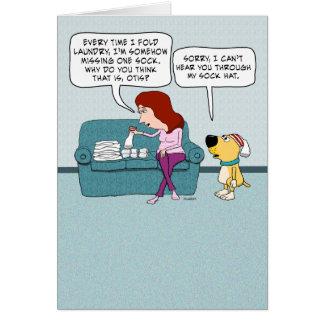 Cartão Aniversário engraçado do cão do chapéu da peúga