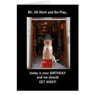Cartão Aniversário engraçado do cão/marido do laboratório