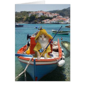 Cartão Aniversário engraçado do gato para o pescador