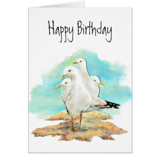 Cartão Aniversário engraçado, do grupo das gaivotas,