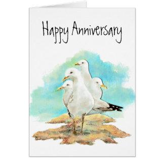 Cartão Aniversário engraçado, do grupo de gaivotas,