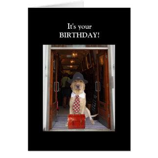 Cartão Aniversário engraçado do homem do laboratório