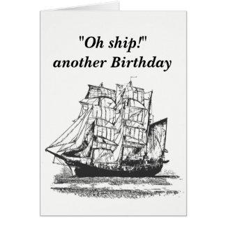 Cartão Aniversário engraçado do navio do vintage para ele