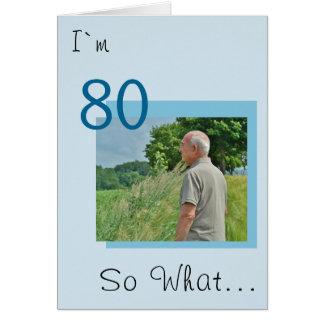 Cartão aniversário engraçado, foto inspirador do 80