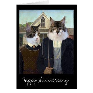 Cartão Aniversário engraçado gótico americano do gato