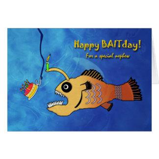Cartão Aniversário engraçado para o sobrinho,
