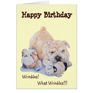 Cartão Aniversário engraçado shar do cão e do ursinho do