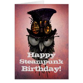 Cartão Aniversário feliz de Steampunk! - Coruja