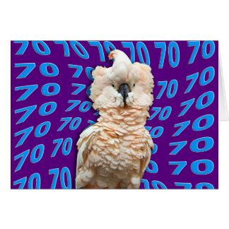 Cartão Aniversário feliz do 70 que caracteriza o Cockatoo