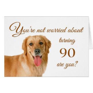 Cartão Aniversário feliz do 90, laboratório preocupado