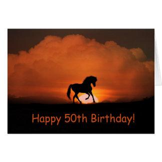 Cartão Aniversário feliz do cavalo 50th que funciona no
