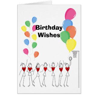 Cartão Aniversário feliz do Netball do tema dos balões