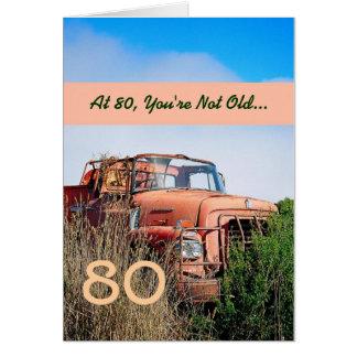 Cartão Aniversário feliz ENGRAÇADO do 80 - caminhão da