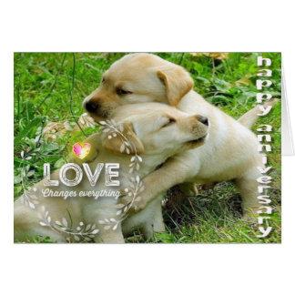 Cartão Aniversário feliz (filhotes de cachorro) - cristão