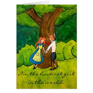 """Cartão """"Aniversário feliz irlandês dos amantes"""" - dela"""