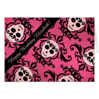 Cartão Aniversário feminino do crânio