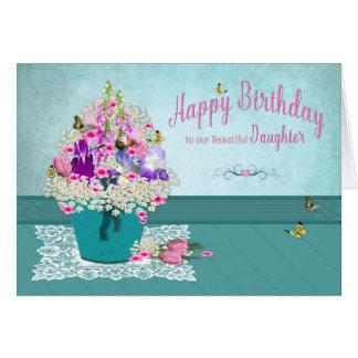 Cartão Aniversário - filha - balde de flores do jardim