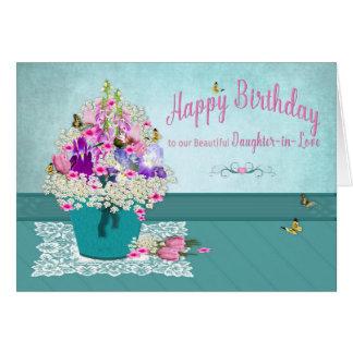 Cartão Aniversário - Filha-em-Amor - balde das flores