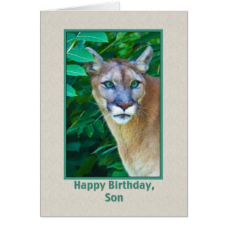 Cartão Aniversário, filho, puma na selva