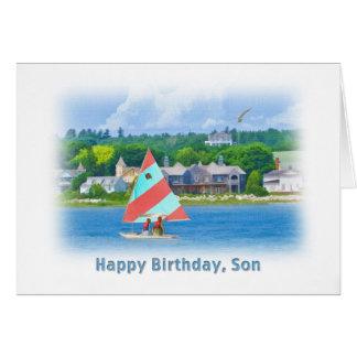 Cartão Aniversário, filho, veleiro em um lago, náutico