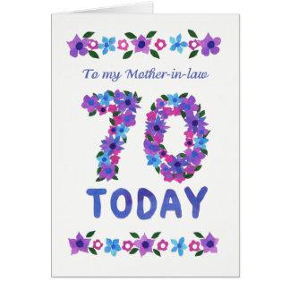 Cartão Aniversário floral bonito do 70, para a sogra