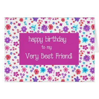 Cartão Aniversário floral bonito do melhor amigo de Ditsy