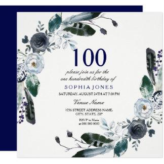 Cartão Aniversário floral branco do preto de azuis