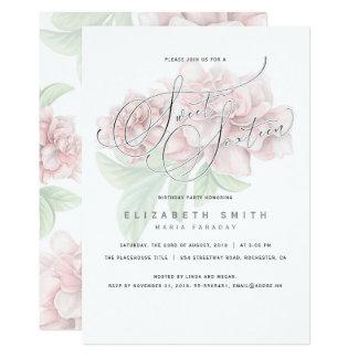 Cartão Aniversário floral cor-de-rosa elegante do doce 16