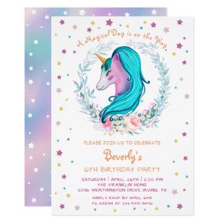 Cartão Aniversário floral da aguarela mágica do unicórnio
