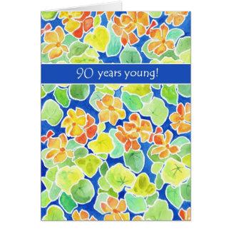 Cartão Aniversário floral do 90 das chagas alaranjadas