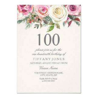 Cartão Aniversário floral elegante do rosa branco o 100th