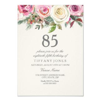 Cartão Aniversário floral elegante do rosa branco o 85th