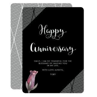 Cartão Aniversário floral preto e branco do olhar da rede