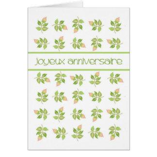 Cartão Aniversário francês do cumprimento dos Rosebuds
