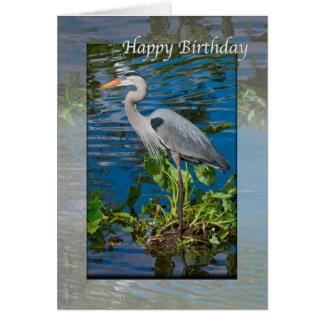 Cartão Aniversário, garça-real de grande azul no lago