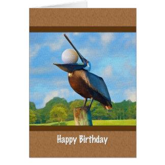 Cartão Aniversário, golfe, pelicano