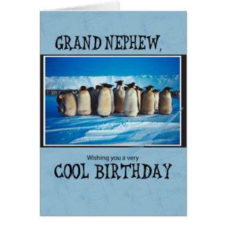 Cartão Aniversário grande do sobrinho, pinguins
