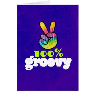 Cartão Aniversário Groovy do sinal de paz da mão do