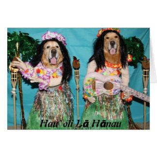 Cartão Aniversário havaiano de Hula do golden retriever
