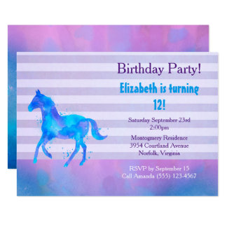 Cartão Aniversário horizontal das listras da aguarela do