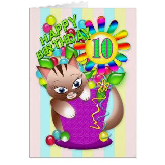 Cartão Aniversário - idade 10 - comemoração do gato do